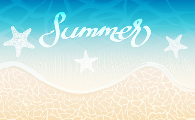 Sea background and summer lettering creative design, stock vector illustration