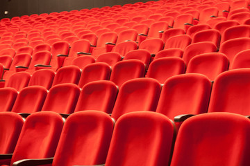 Fond de hotte en verre imprimé Opera, Theatre empty red cinema or theatre seats