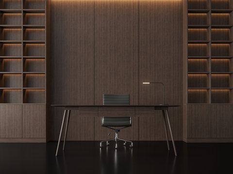 Modern contemporary working room 3d render,There are black floors and wooden walls. Decorated with hidden lights in the wall.