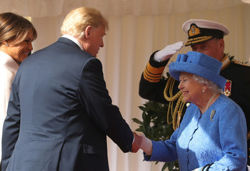 Britain's Queen Elizabeth greets U.S. President, Donald Trump and First Lady, Melania Trump  at Windsor Castle, Windsor