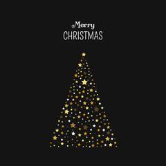 Weihnachtsbaum mit Dekorationen und der Schrift: Merry Christmas