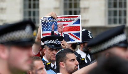 Demonstrators protest against, as some support, the visit of U.S. President Donald Trump, in central London
