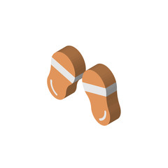 Flip flops isometric right top view 3D icon
