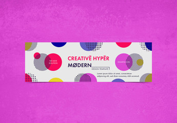80s Banner Layout with Colorful Circular Elements