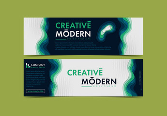Banner Layout with Layered Wave Elements