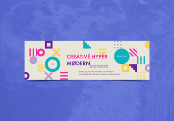 Banner Layout with Colorful Geometric Shapes