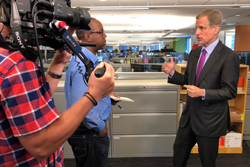 Dallas Federal Reserve Bank President Robert Kaplan speaks with Reuters reporter Conway Gittens at Reuters' headquarters in New York