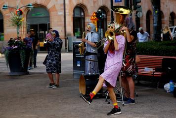 Street musicians play at Esplanade in Helsinki