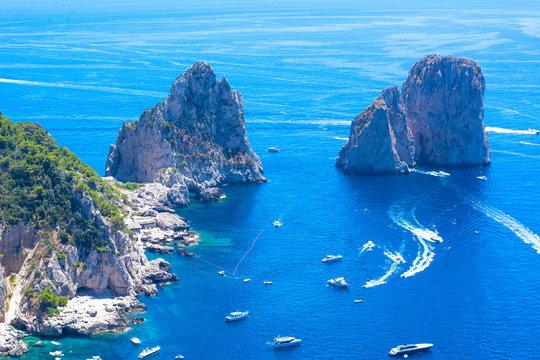 Capri island, Italy, famous Faraglioni cliffs