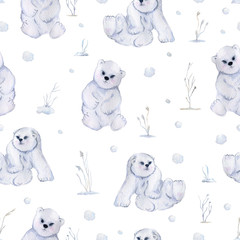 Seamless pattern with cute little polar bears, bushes and snow. Isolated on white background. Watercolor illustration
