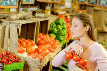 Woman shopping in an organic store
