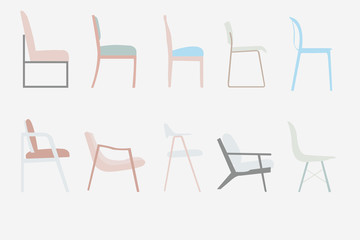 side view style chairs vector office furniture design set ,illustration.