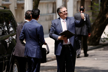 Marcelo Ebrard, designated foreign minister of Mexico's president-elect Andres Manuel Lopez Obrador, gestures prior to a meeting with U.S. Secretary of State Mike Pompeo and other U.S. top officials in Mexico City