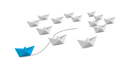 paper boat leader with initiative. leadership concept.