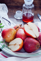 Cooking with Red Bartlett Pears and vanilla