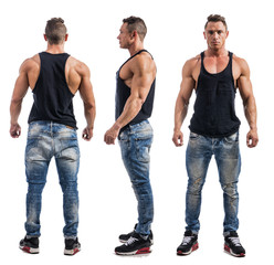 Three views of muscular male bodybuilder: back, front and profile shot