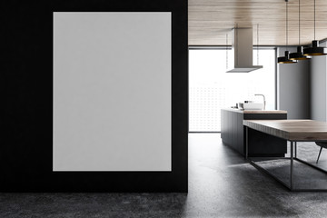 Poster in black panoramic kitchen and dining room