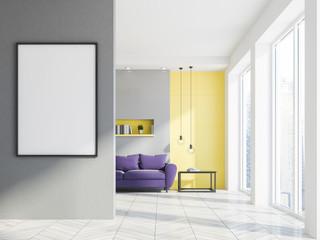 Gray living room interior, purple sofa, poster