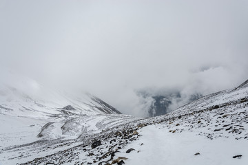 Mountain landscape on the snow-covered Thorong La pass, Nepal.