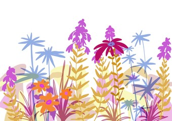 Flat flower garden design with collage style background, decorative cutout paper style images with fun colors, pastels illustration for spring and summer feminine surface pattern.