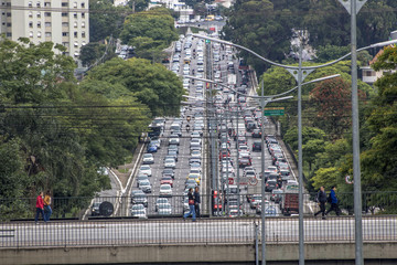 Sao Paulo, Brazil, October 23, 2017. Heavy traffic in the North South Corridor, at the Rubem Berta Avenue, south zone of Sao Paulo. This avenue connects the northern and southern areas of the city.