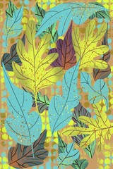 Flat flower abstract leaves and plants design of  unique autumn and deep color background illustration in verticle format