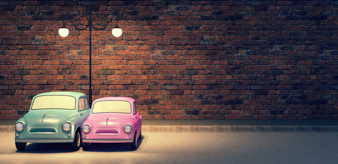 cute car couple in love valentine's day background 3d render 3d illustration