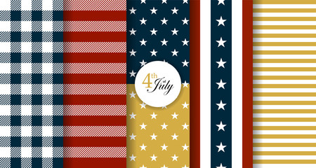 Stars and stripes style seamless patterns