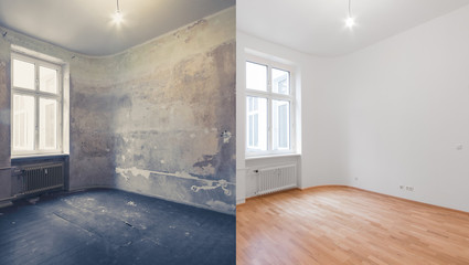 renovation before and after  - empty apartment room