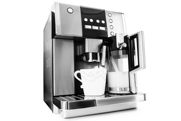 automatic coffee maker with cup of coffee