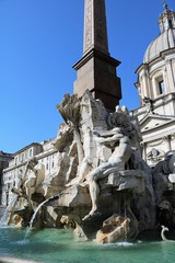 The Fountain of the Four Rivers at Piazza Navona in Rome, Italy