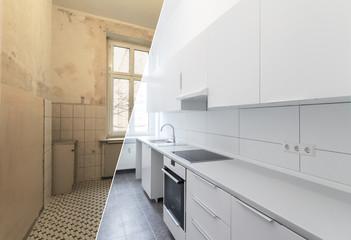 Obraz old and new kitchen after restoration - renovation concept - fototapety do salonu