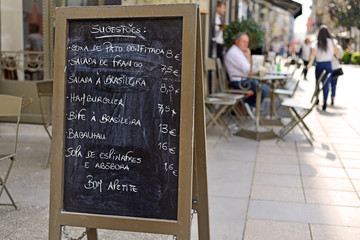 Menu on the street in Portugal