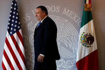 U.S. Secretary of State Mike Pompeo arrives to deliver a joint statement with and Mexico's Foreign Minister Luis Videgaray in Mexico City