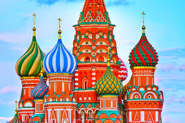 View of St. Basil's Cathedral on the Red Square at dusk in Moscow, Russia.