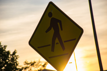 Pedestrian Crossing Sign at Sunset