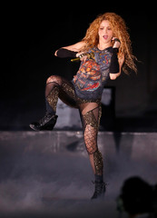 Colombian singer Shakira performs in the opening of the Cedars International Festival In Bcharre