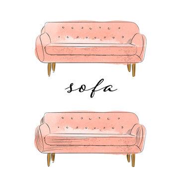 watercolor sofa illustration. hand drawn sofa. interior design element.