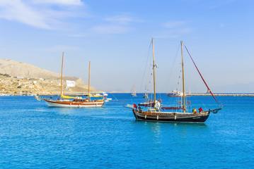 Kalymnos Island, Greece; 22 October 2010: Bodrum Cup Races, Gulet Wooden Sailboats