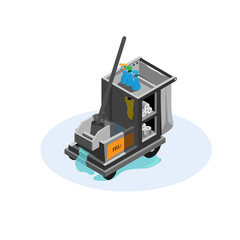 Vcector Isometric Cleaning Cart ,Room cleaning,Cleaning Cart Vector. Classic Trolley Cleaning Service Cart.