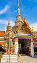 Close up of the giant at the entrance to Wat Phra Kaew, Bangkok, Thailand