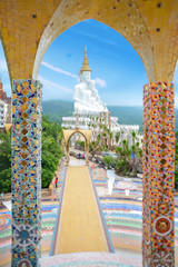 Giant white buddha at Wat Pha Sorn Kaew temple