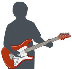 エレキギターを弾く男性のイメージイラスト
