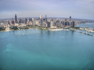 Aerial Drone View of the City of Chicago on Lake Michigan