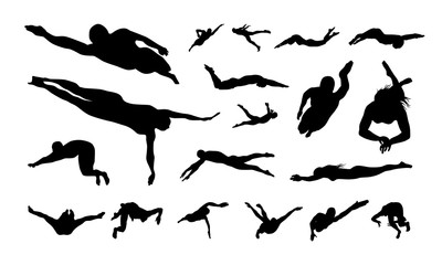 Set of Swimming Sport Silhouette vector illustration