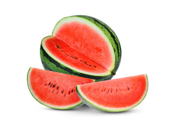 whole and slices red watermelon isolated on white background