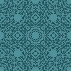 Beautiful tablecloth. Seamless lace pattern with geometric, floral element. Vector illustration.