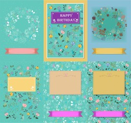 Set of floral cards with banners for texts