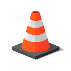 Orange and white traffic cone with a black base on isolated white background - 3D illustration