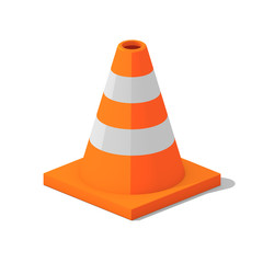 Orange and white traffic cone with an orange base on isolated white background - 3D illustration